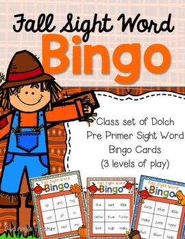 Fall Sight Word Bingo--A Dolch Pre Primer Game for K-2