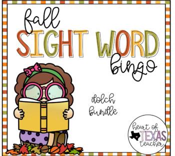 Fall Sight Word Bingo {Dolch BUNDLE}