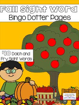 Fall Sight Word Bingo Dotter Printable Activity