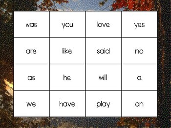Kindergarten Sight Words Bingo - Fall theme