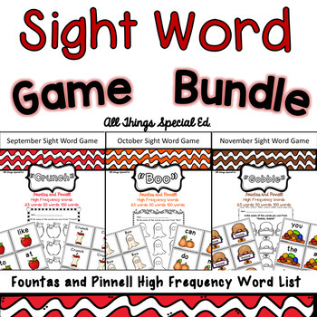 Fall Sight Word Bundle - Fountas and Pinnell Word Lists