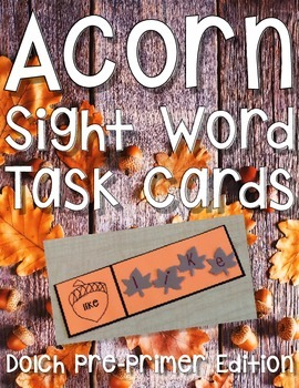 Fall Sight Word Center: Acorn Sight Word Activity Pre-Primer