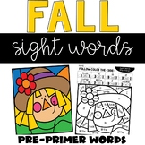 Fall Sight Word Coloring Pre-Primer Words