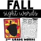 Fall Sight Word Coloring Sheets with 2nd Grade Words