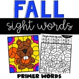 Fall Sight Word Coloring Sheets with Primer Words