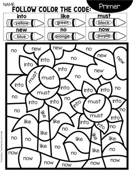 Fall Sight Word Coloring Sheets with Primer Words by ...