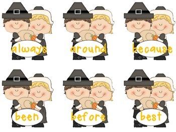 Sight Word Flash Cards: Fall Set 4