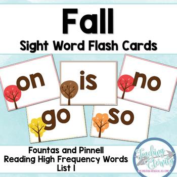 Fall Sight Word Flashcards (Fountas & Pinnell list 1)