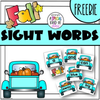 Fall Sight Word Game Pre-Primer Word List