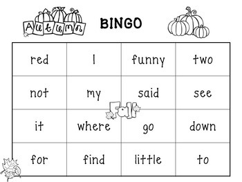 Sight Word Games- Fall, Autumn