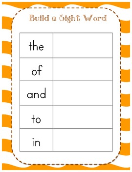 Fall Sight Word Magnet Games