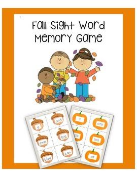 Fall Sight Word Memory