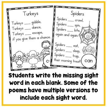 Fall Sight Word Poems (Fill in the Missing Sight Word Version)
