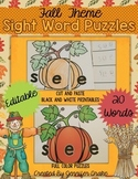 Fall Sight Word Puzzles EDITABLE