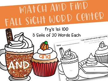 Fall Sight Word Read and Match Center