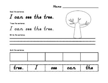 Fall Sight Word Sentence SAMPLE