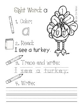 Fall Sight Word Sentences