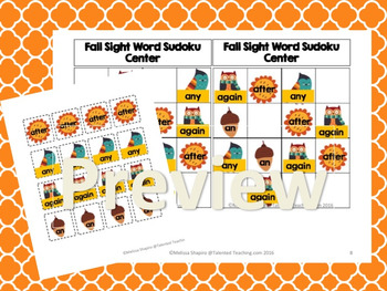 First Grade Sight Word Fall Forest Sudoku Puzzle