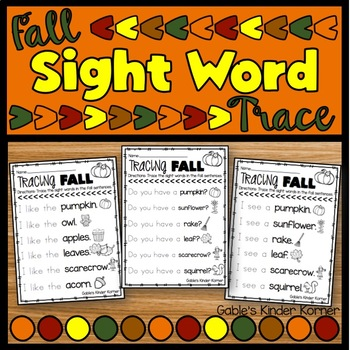 Fall Sight Word Trace and Read!