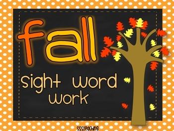 Fall Sight Word Word Work