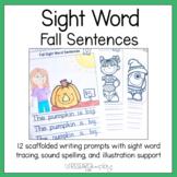 Fall Sight Word Writing Prompts Kindergarten