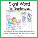 Fall Sight Word Writing Prompts Kindergarten