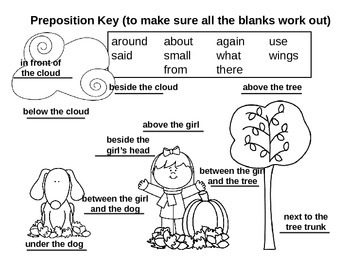 Fall Sight Word and Preposition Practice