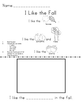 Fall Sight Word/Color Word Practice