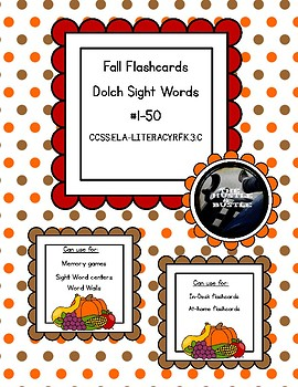 Fall Sight Words 1-50