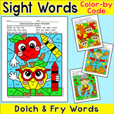 Fall Activities Color by Sight Words Bundle - Johnny Appleseed, Scarecrow, Apple