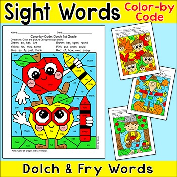 Fall Activities Color by Sight Words Bundle - Johnny Apple