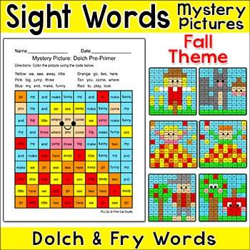Fall Activities Sight Words Mystery Pictures Bundle - Autumn Activities