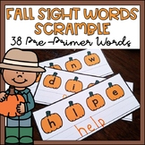 Fall Sight Words Center Pre Primer Thanksgiving Activity f