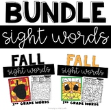 Fall Sight Words Worksheets with 2nd and 3rd Grade  Words
