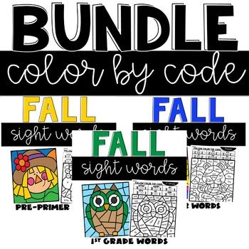 Fall Sight Words Worksheets with Pre-Primer, Primer, and 1st Grade Words