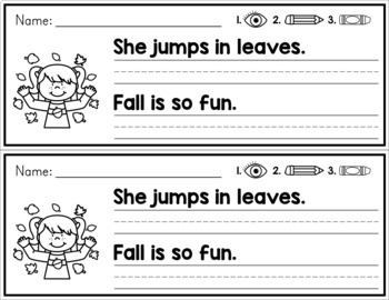 Fall Simple Sentence Practice Strips - No Prep