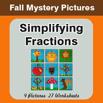 Fall: Simplifying Fractions - Color-By-Number Math Mystery Pictures