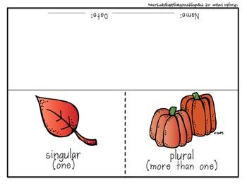 Fall Singular and Plural Nouns Flip Flap Book