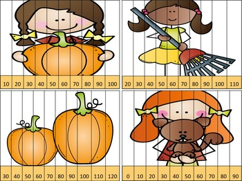 Fall Skip Counting Puzzles - 2s, 5s, & 10s