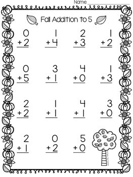 Fall Smiley Math Addition Fact Fluency | Addition to 5