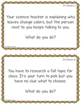 Fall Social Skills Task Cards for Middle and High School