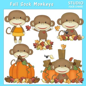 Fall Sock Monkeys Clip Art Color  personal & comm use Primsy Resale