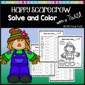 Fall Solve and Color with a Twist First Grade Math Worksheet FREEBIE