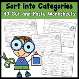 Fall Sort into Categories using Literacy and Math Cut and Paste Worksheets