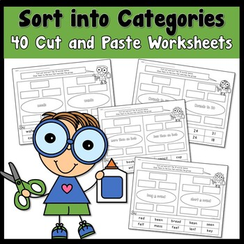 Fall Sort into Categories using Literacy and Math Cut and