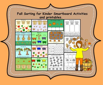 Fall Sorting/Counting for Kinder Smartboard Activities and