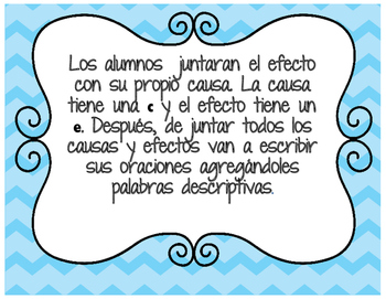 Spanish Cause and Effect Task Cards