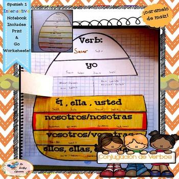 Fall Spanish Conjugation - Interactive Notebooks - caramelo de maíz