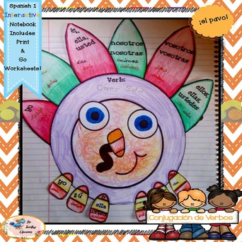 Fall Spanish Conjugation - Interactive Notebooks - el pavo