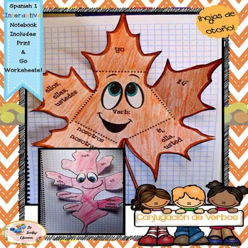 Fall Spanish Conjugation - Interactive Notebooks - hojas de otoño - Fall Leaves